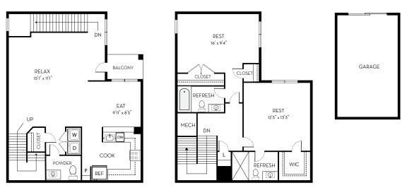Taylor Barrington Park 2 bedroom 2 and a half baths floor plan apartment in Manassas VA