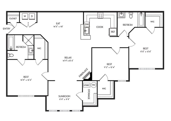 3 Bedrooms and 2 Bathrooms Floor Plans at Stone Gate Apartments, Spring Lake, NC