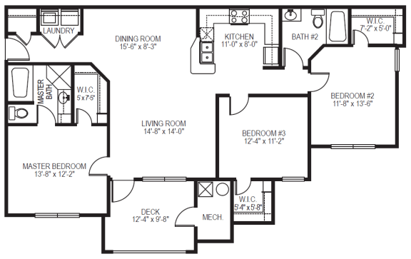 Meridian phase II 3 bedroom 2 bath apartment at Village on the Lake Apartments in Spring Lake NC