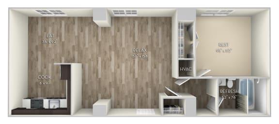 Bryant Columbia Uptown 1 bedroom 1 bath unfurnished floor plan apartment in Columbia Heights Washington DC