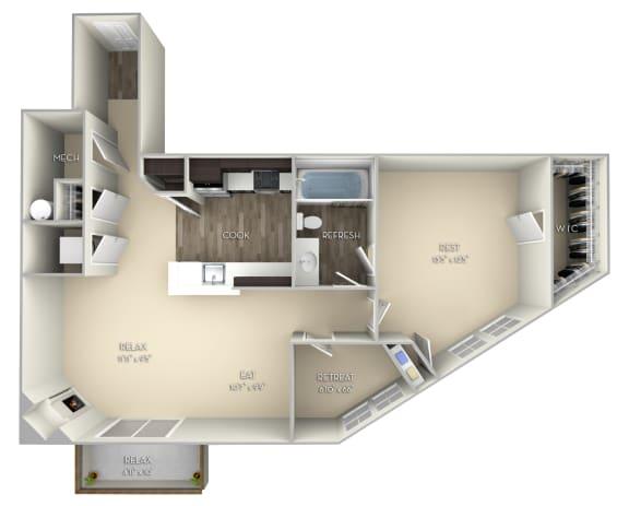 Cambridge Kensington Place 1 bedroom 1 bath unfurnished floor plan apartment in Woodbridge VA