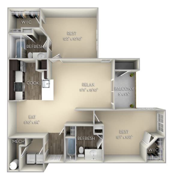 Cardinal Kensington Place 2 bedrooms 2 baths unfurnished floor plan apartment in Woodbridge VA at Kensington Place, Virginia, 22191