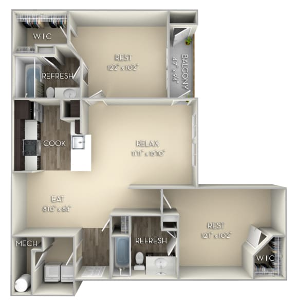 Colonial Kensington Place 2 bedrooms 2 baths unfurnished floor plan apartment in Woodbridge VA