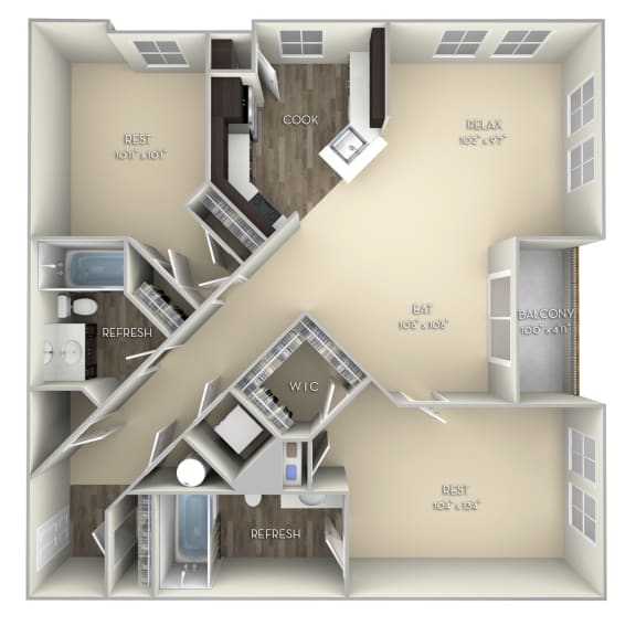 Ellicott Kensington Place 2 bedrooms 2 baths unfurnished floor plan apartment in Woodbridge VA
