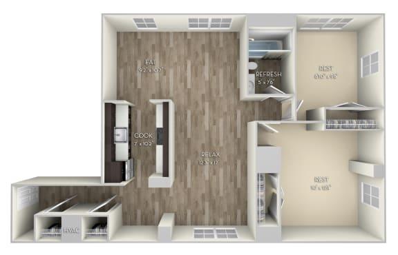 Fairmont Columbia Uptown 2 bedroom 1 bath unfurnished floor plan apartment in Columbia Heights Washington DC