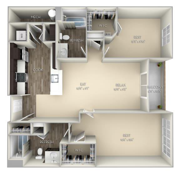 Harvard Kensington Place 2 bedrooms 2 baths unfurnished floor plan apartment in Woodbridge VA
