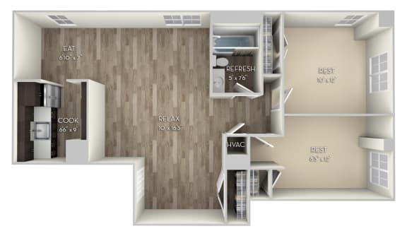 Howard Columbia Uptown 2 bedroom 1 bath unfurnished floor plan apartment in Columbia Heights Washington DC