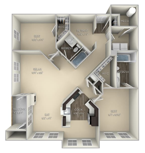 Hoya Kensington Place 2 bedrooms 2 baths unfurnished floor plan apartment in Woodbridge VA