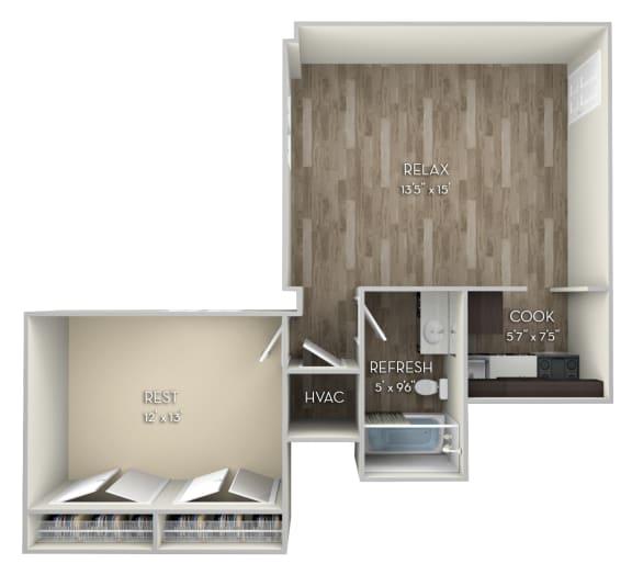 Josephine Columbia Uptown 1 bedroom 1 bath unfurnished floor plan apartment in Columbia Heights Washington DC