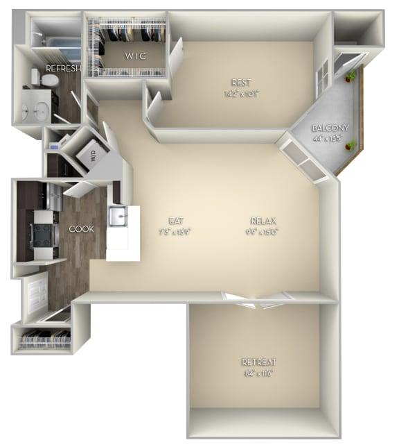 Kingston Kensington Place 1 bedroom 1 bath unfurnished floor plan apartment in Woodbridge VA