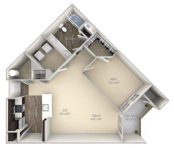 Newcastle Kensington Place 1 bedroom 1 bathunfurnished floor plan apartment in Woodbridge VA