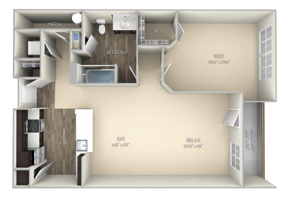 Oxford Kensington Place 1 bedroom 1 bath unfurnished floor plan apartment in Woodbridge VA