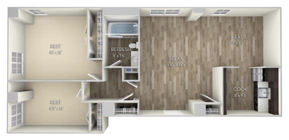 Irving Columbia Uptown 2 bedroom 1 bath unfurnished floor plan apartment in Columbia Heights Washington DC