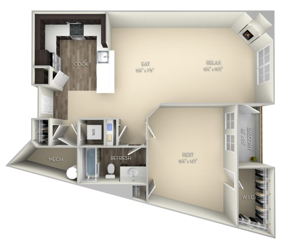 Standford Kensington Place 1 bedroom 1 bath unfurnished floor plan apartment in Woodbridge VA