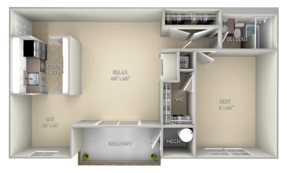 Patriot Fairfax Square 2 bedroom 1 bath unfurnished floor plan apartment in Fairfax VA at Fairfax Square, Fairfax, VA, 22031
