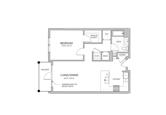 1 Bedroom - a14 Floor Plan at AVE Blue Bell, Blue Bell, PA, 19422