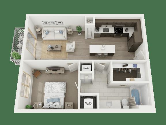 Floor Plan  1 Bd - a3 floorplanat AVE Austin North Lamar, Austin, 78752