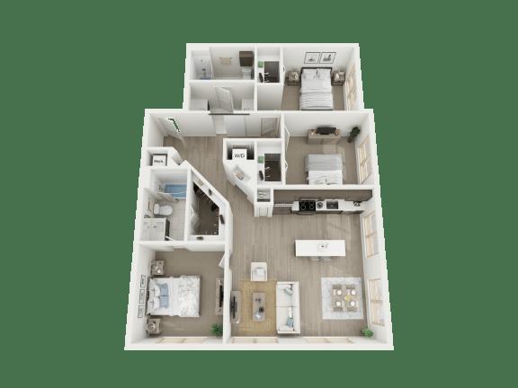 Floor Plan  3 Bd - c1 floorplan at AVE Austin North Lamar, Austin, Texas