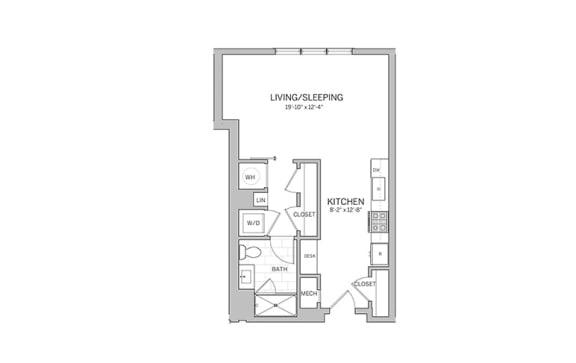 Studio - e5 Floor Plan at AVE Blue Bell, Blue Bell, PA, 19422