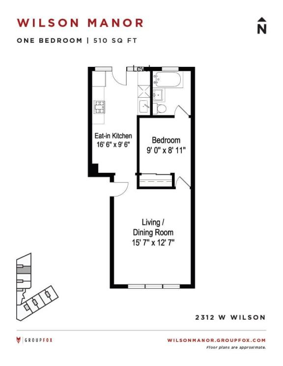 Group Fox - Wilson Manor - One Bedroom Floorplan