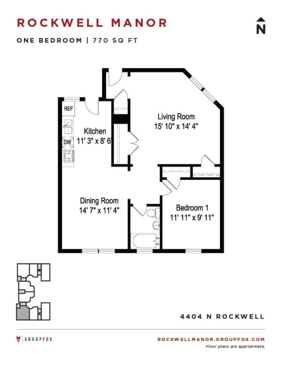 Rockwell Manor - One Bedroom Floorplan