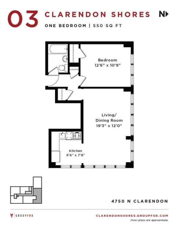 Clarendon Shores - One Bedroom Floorplan