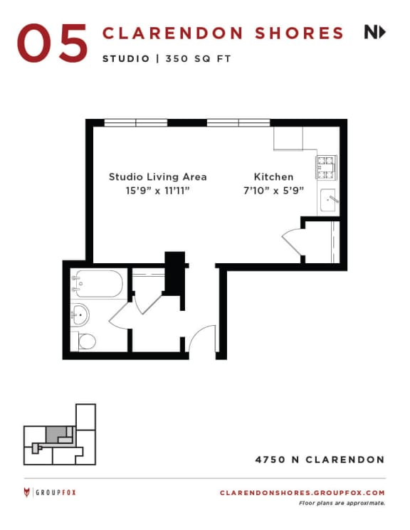 Clarendon Shores - Studio Floorplan