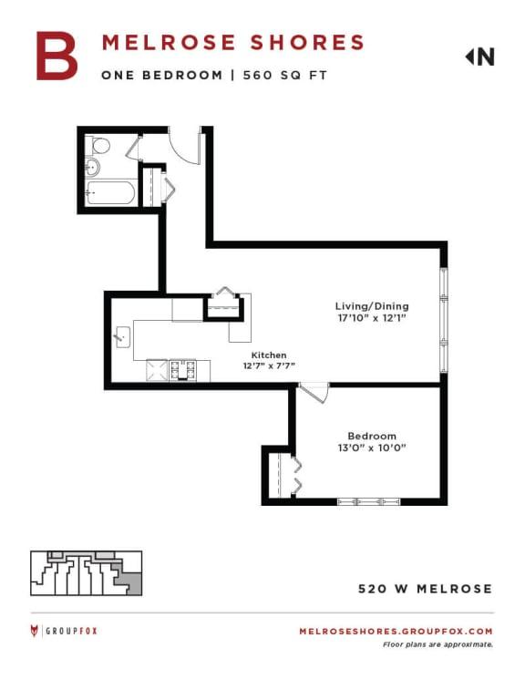 Melrose Shores - One Bedroom Floorplan B