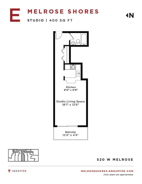 Melrose Shores - Studio Floorplan E