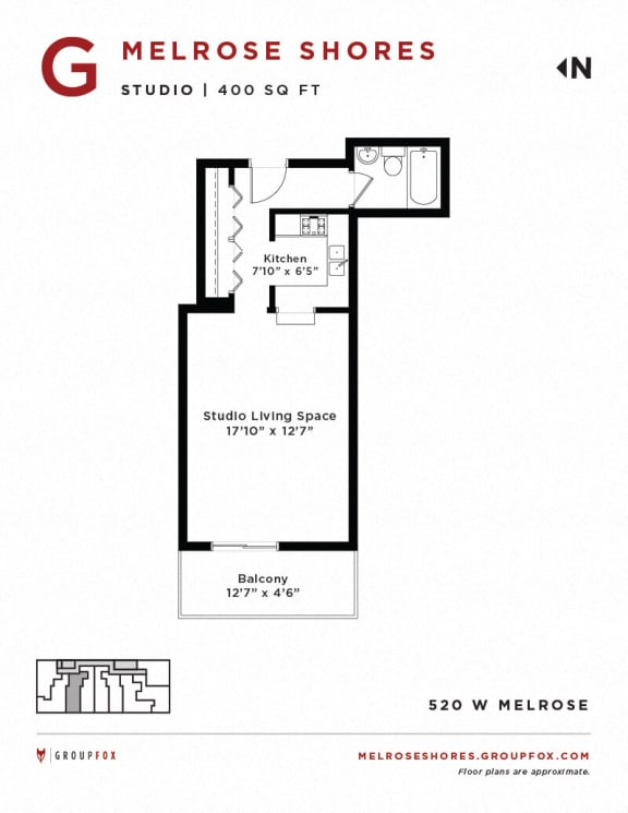Melrose Shores - Studio Floorplan G
