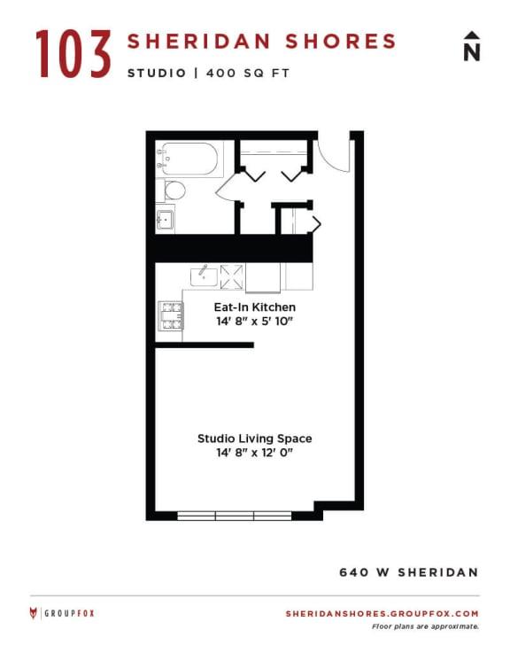 Sheridan Shores - Studio Floorplan