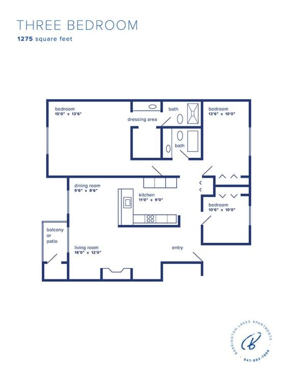 Barrington Lakes Apartments - Three Bedroom