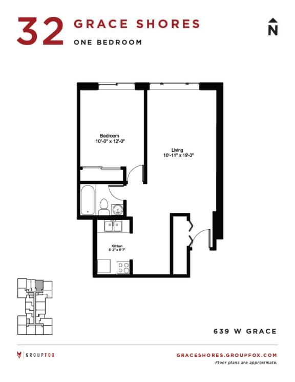 Grace Shores - One Bedroom Floorplan