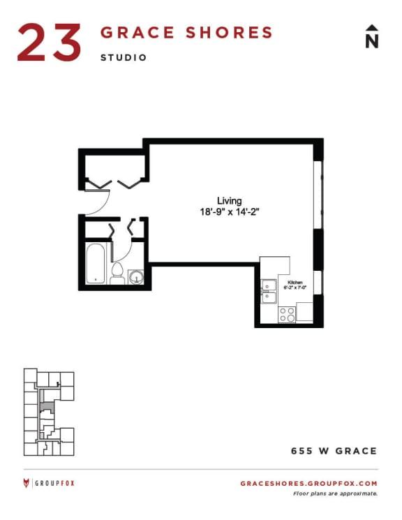 Grace Shores - Studio Floorplan