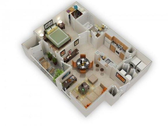 Floor Plan  Carlyle 1 Bed 1 Bath Floor Plan at Main Street Village Apartments