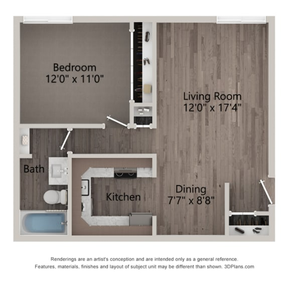 Daisy One Bedroom One Bathroom Floor Plan  at Willow Crossing, Elk Grove Village