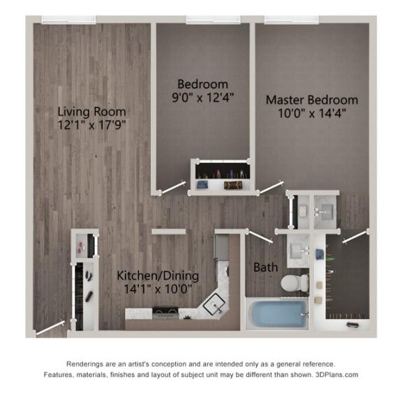 Magnolia Two Bedroom Floor plan at Willow Crossing, Elk Grove Village, IL 60007