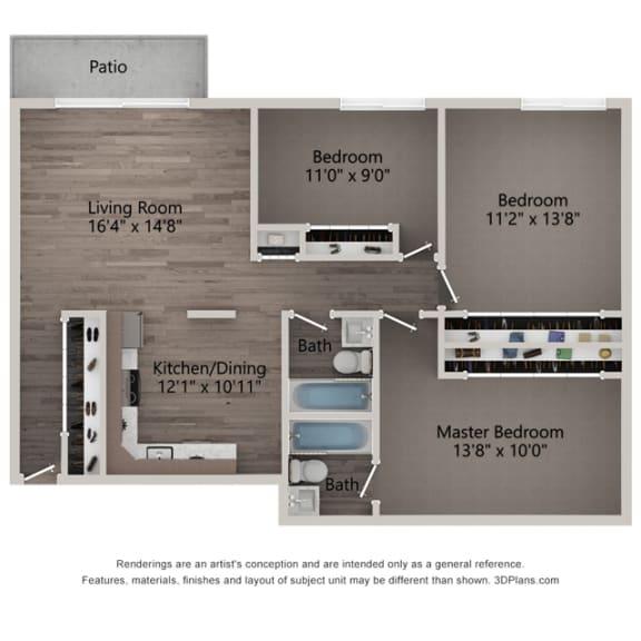 Primrose Three Bedroom Two Bathroom Floor Plan at Willow Crossing, Elk Grove Village, IL