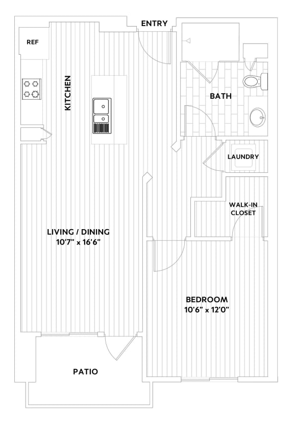 A ONE One-Bedroom One-Bath Floor Plan at The Q Variel, Woodland Hills, CA