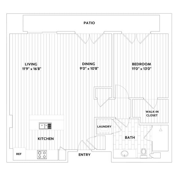 A SIX One-Bedroom One-Bath Floor Plan at The Q Variel, California, 91367