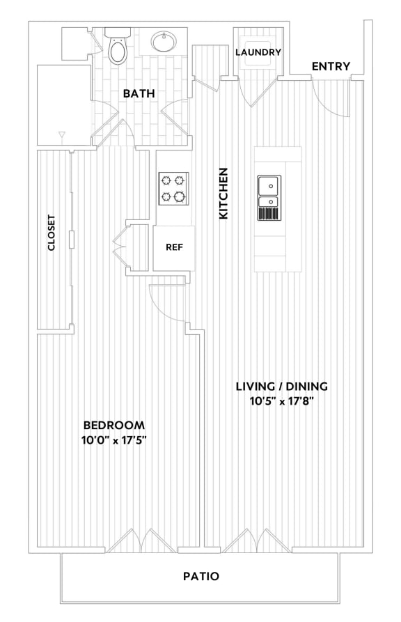 A TWO One-Bedroom One-Bath Floor Plan  at The Q Variel, Woodland Hills, 91367