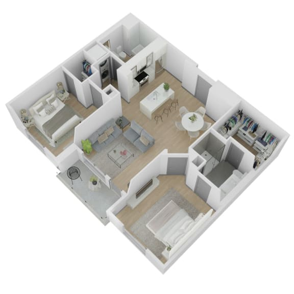 2 Bedroom 2 Bathroom Floor Plan at The Q Variel, Woodland Hills, California
