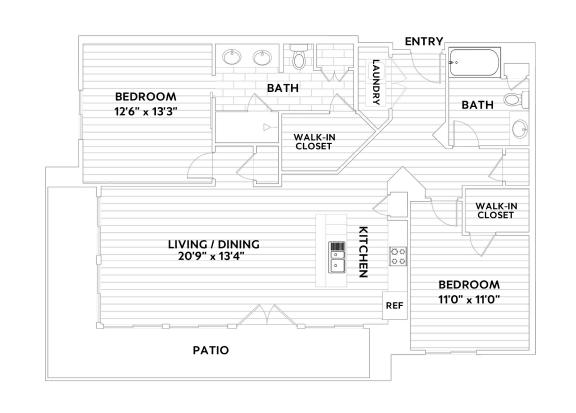 B THREE Two-Bedroom Two-Bathroom Floor Plan at The Q Variel, Woodland Hills, California