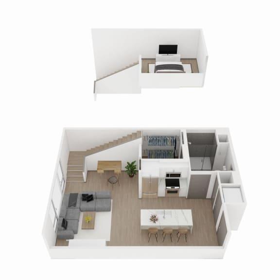 One-Bedroom, One-Bath Loft Floor Plan  at The Q Variel, California, 91367