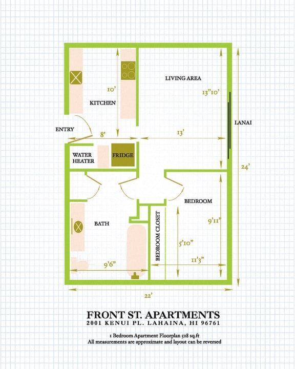 Floor Plan  Front Street Apartments 1 bedroom 1 bathroom floor plan