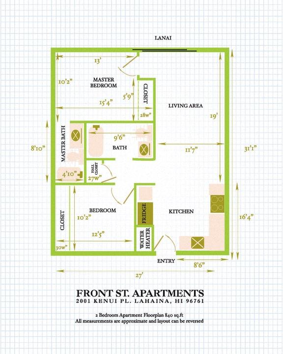 Floor Plan  Front Street Apartments 2 bedroom 2 bathroom floor plan