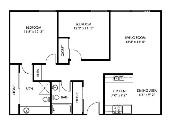 Floor Plan  Tierra Del Sol two bedroom two bath floor plan