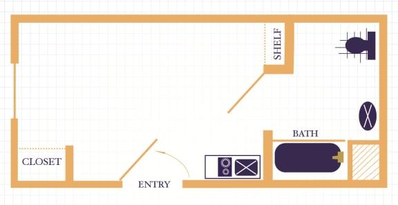 Floor Plan  The Waterfront Apartments at Kahului studio floor plan