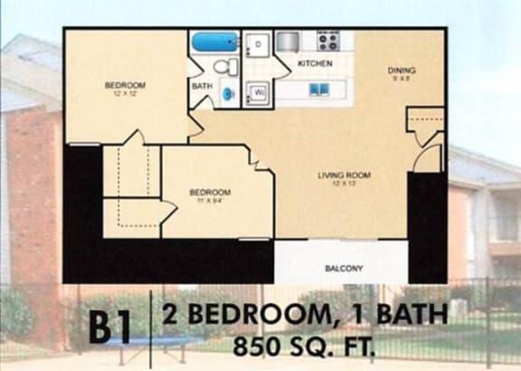 Floor Plan  Trinity Park 2Bed 1Bath B1 Floorplan