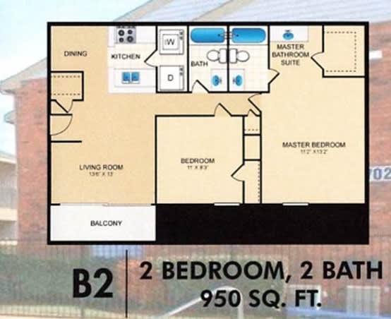 Floor Plan  Trinity Park 2Bed 2Bath B2 Floorplan